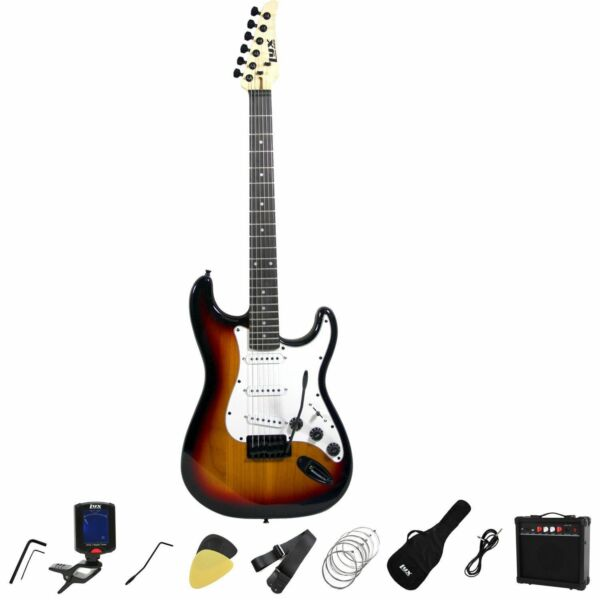 LyxPro Full Size Electric Guitar with 20w Amp Sunburst $89.95