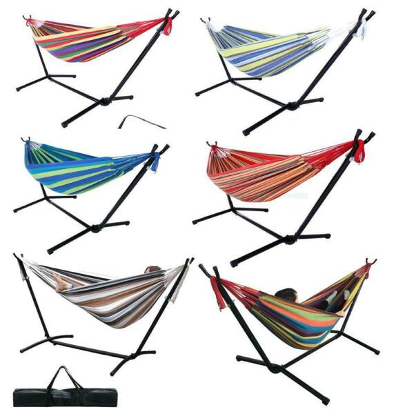 New Double Hammock With Space Saving Steel Stand Includes Carrying Case 450Lbs $69.99