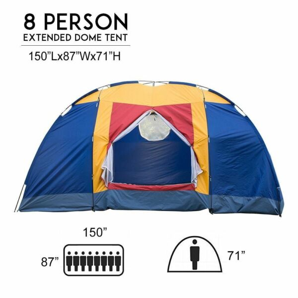 8 Person Portable Family Large Tent for Traveling Camping Hiking