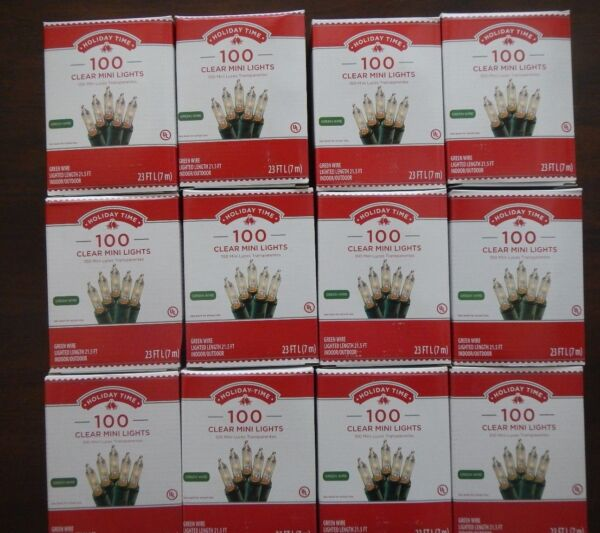 12 boxes Holiday Time 100 Clear Mini Lights-Christmas-Wedding-NEW-Green Wire
