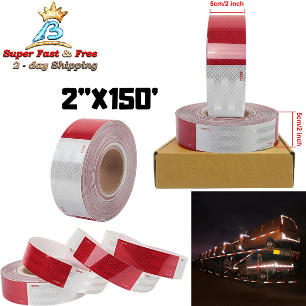 Caution Safety Warning Reflective Dot Tape Roll Red White Trailer Reflector Film