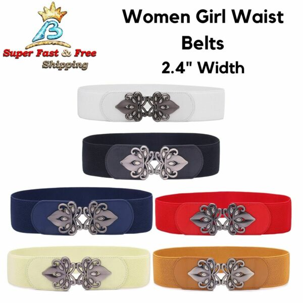 Women Girl Fashion Waist Belts Wide Fit Flare High Vintage Chain Elastic Stretch