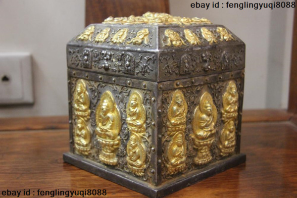 Chinese Buddhism Vintage Handmade Engraved Pure Silver Gold Gilt Seal Case Box