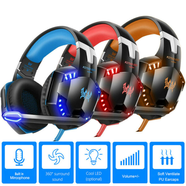 Gaming Headset 3D Stereo LED Headphones 3.5mm Surround Sound For PS4 Xbox One