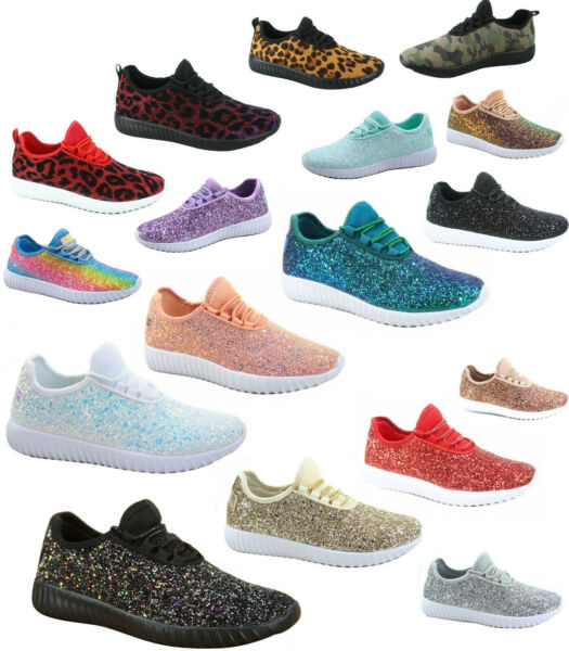 Women's Fahsion Sparkling Glitter Lace Up Light Weight Sneaker Shoes Size 5 - 10