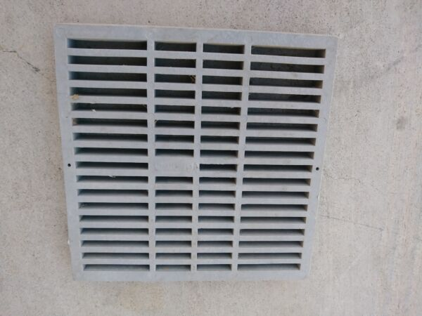 12quot; PLASTIC SQUARE GRATE GRAY 12×12×1 NEW
