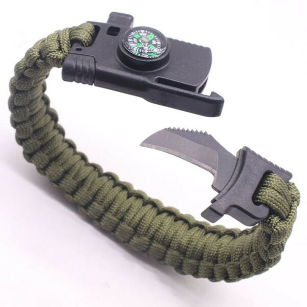 Green Outdoor Paracord Survival Bracelet - Knife Fire Starter Compass Whistle