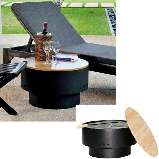 "Outdoor Portable Steel Fire Pit 24""Coffee Table Wood Burning Grill Cover Black"