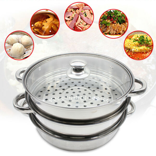 3 Tier Food Steamer Stainless Steel Vegetable Meat Cooker Kitchen Silve