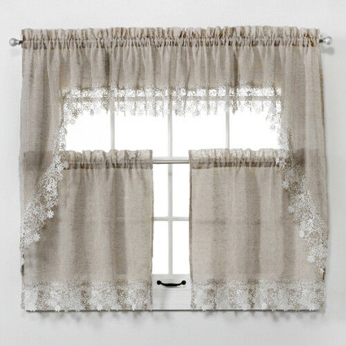 NEW Lillian Faux Linen Kitchen Curtain with Macrame Trim Macrame Curtains