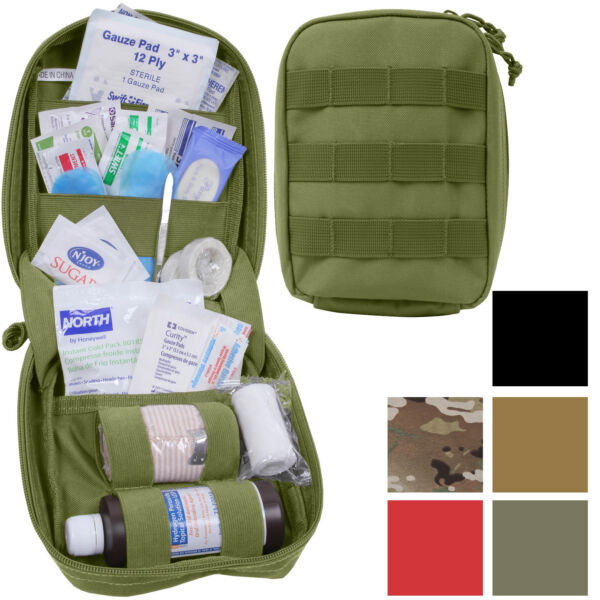 Tactical First Aid Kit Pouch Fully Stocked Medical Supplies MOLLE Supply Case