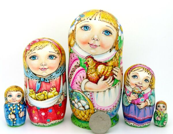 Matryoshka Russian Dolls 5 PYROGRAPHY EASTER Girls Chicken GENUINE CHMELEVA GIFT