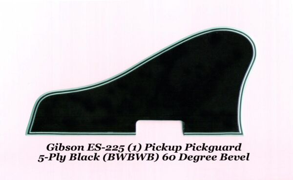 ES-225 Pickguard 5-Ply Black W1-PU made for Gibson Project Wmountsbracket NEW