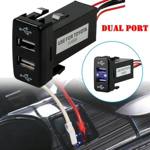 12V Charger Adapter Twin Dual Double 2 USB Port In Car Socket Lighter For Toyota