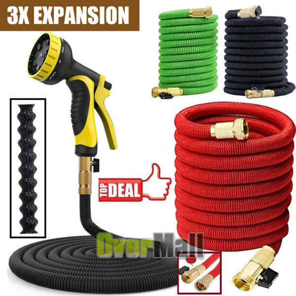 3X Stronger 25-100 FT Expandable Flexible Garden Water Hose w Nazzle US SHIP