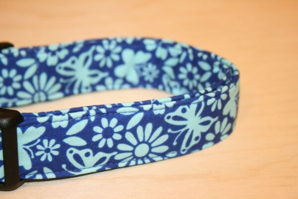 Blue Floral amp; Butterflies Dog Collars $5.00