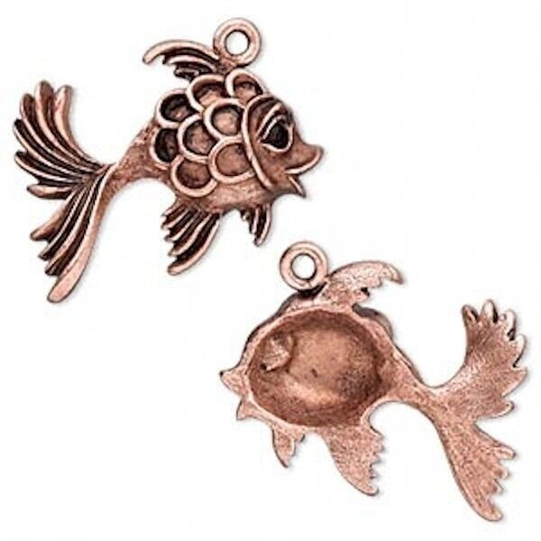 2 Antiqued Copper Fancy GOLDFISH Charms Fish *30x29mm * $6.99