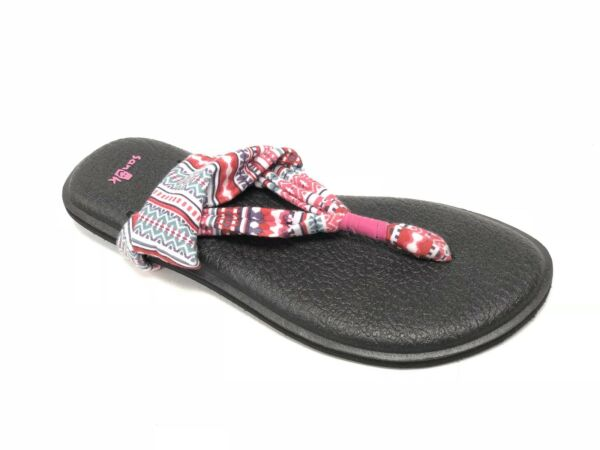 Sanuk Women's Yoga Sling 2 Prints Raspberry Lanai Blanket 1016459 Flip Flops New