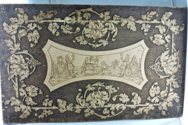 ANTIQUE WOODBOARD PYROGRAPHY 1906 SIGNED WINE MAKING GRAPEVINE SCENE 32