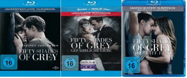 3 Blu-rays * FIFTY SHADES OF GREY - FILM 1 + 2 + 3 IM SET # NEU OVP