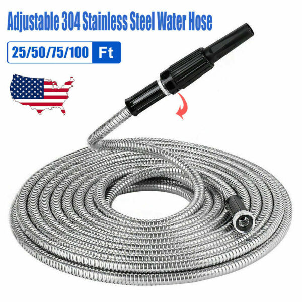 25 50 75 100FT Expandable Garden Water Hose Stainless 304 Pipe Adjustable Nozzle