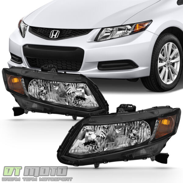 For 2012 2015 Honda Civic Sedan 12 13 Coupe Headlights Blk Headlamps LeftRight