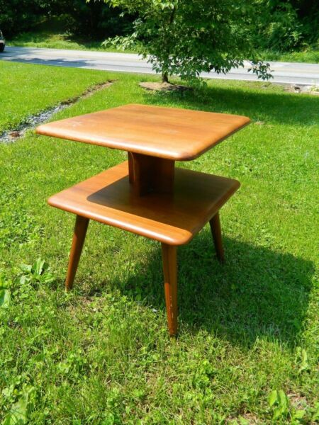 Mid Century Solid Wood Two Tiered End Table