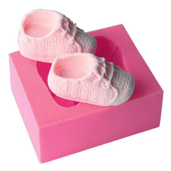 3D Baby Shoes Silicone Cake Mold Fondant Soap Decor Baking Mould DIY Bakeware