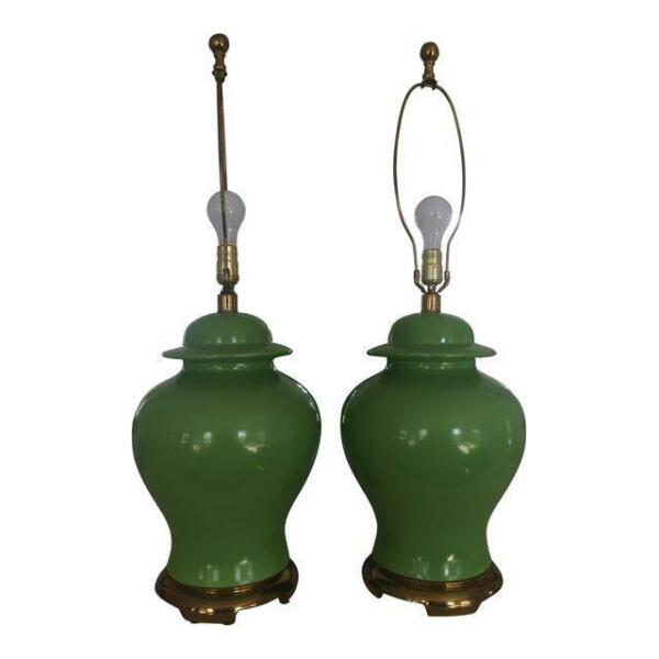 PAIR Hollywood Palm Regency Green Ginger Jar Lamps Dorothy Draper Varney Era