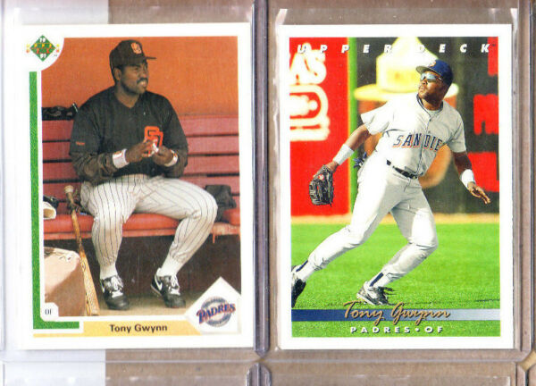 Tony Gwynn - 2 Card Lot-1 1991 Upper Deck+1 1993 Upper Deck-OF-Padres