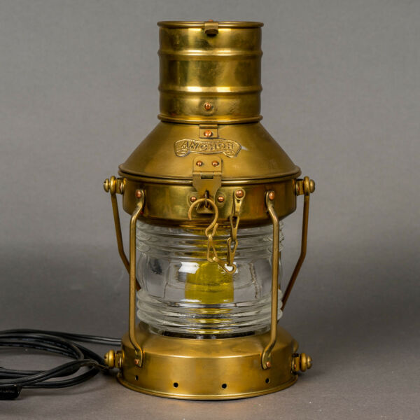 Vintage Anchor Brass  Maritime Ships Lantern Converted Electric Clear Fresnel
