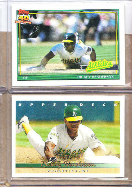 Rickey Henderson-2 Card Lot-1 1993 Upper Deck+1991 Topps 40th Anniversa-Mint-A's