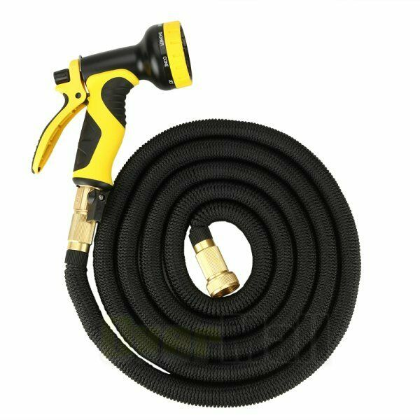 Flexible 25 50 75 100 FT Expanding Garden Water Pocket Hose Spray Nozzle Car Blk