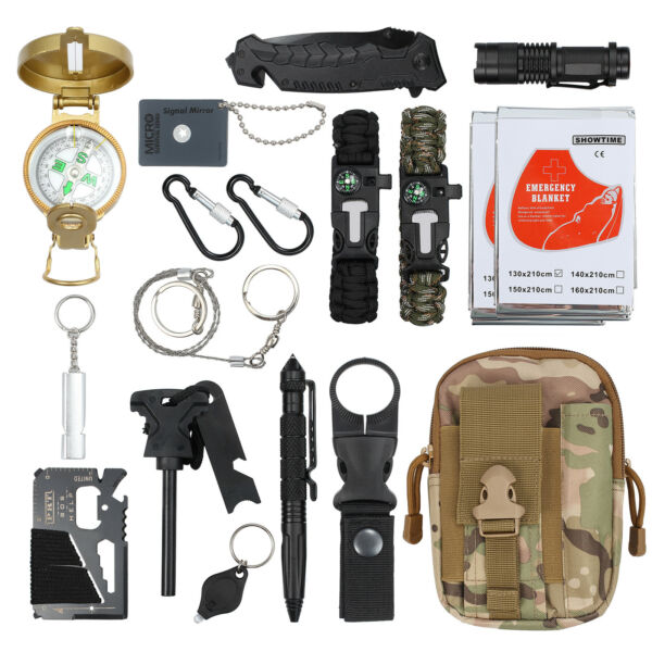18-in-1 Survival Kit Emergency Tactical RECON Outdoor Camp Hiking Gear Tools US