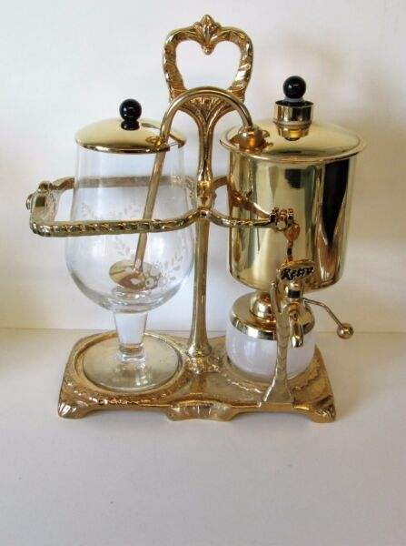 PERCO RETRO VINTAGE BALANCE COFFEE MAKER 0.6 LITRE COMP SET VGC  GOLD PLATE
