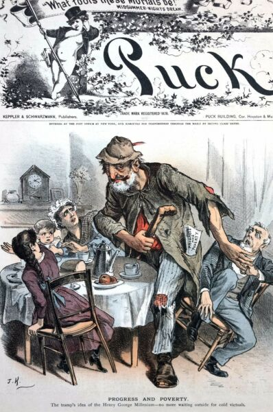 Henry George Economist 1886 GIANT TRAMP LABOR SEAT at TABLE Progress and Poverty