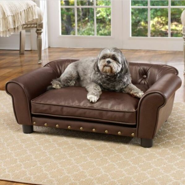 Fancy Dog Bed Raised Medium Tufted Pet Sofa Couch Faux Leather Furniture Cushion $176.17
