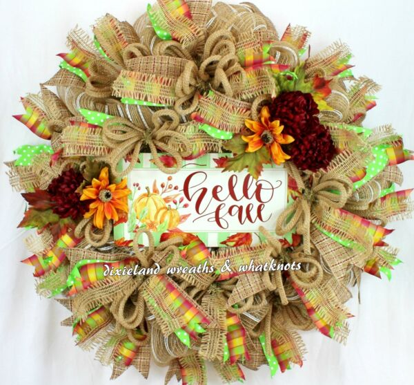 FALL WREATH AUTUMN WREATH HELLO FALL WREATH FALL WREATH FOR FRONT DOOR