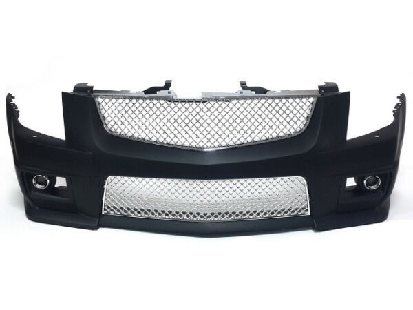 08-13 Cadillac CTS-V Style Front Bumper w Chrome Front Grille with FOG Lights