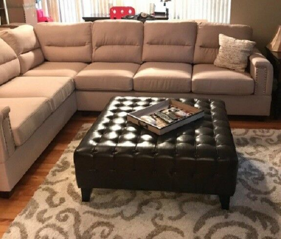 Large Bonded Faux Leather Ottoman Coffee Table Tufted Square Brown Living Room