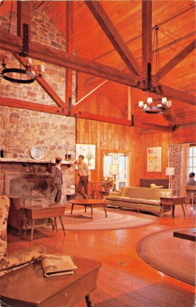 SHENANDOAH NATL PARK VIRGINIA-LOBBY AT BIG MEADOW LODGE-STONE FIREPLACE POSTCARD