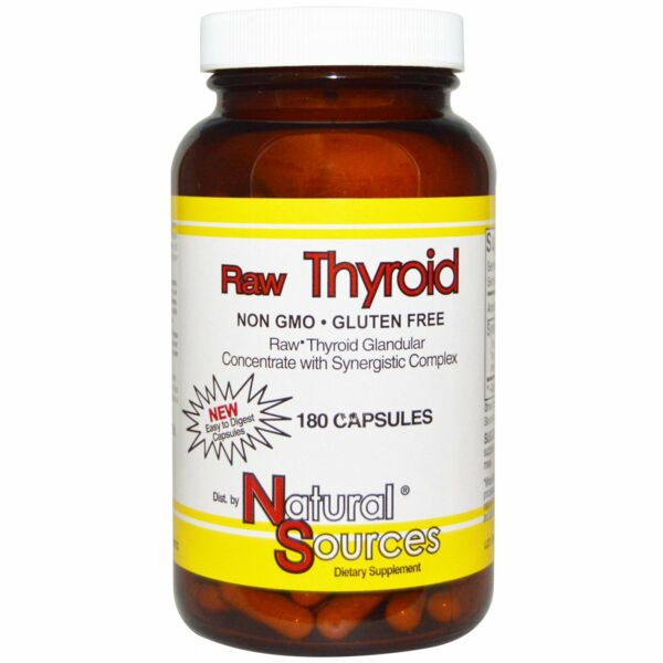 Natural Sources Raw Thyroid 180 Capsules Gluten-Free Milk-Free No Artificial