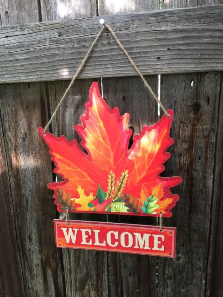 New Leaf Plaque-Harvest Wreath Fall Autumn Thanksgiving Welcome - COLORFUL!
