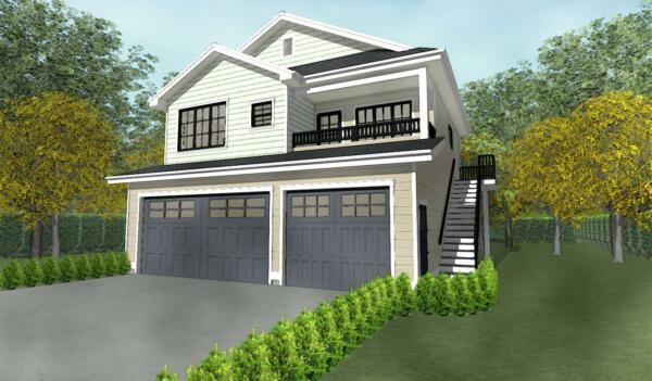 Triple Car 3 Car Garage Plan Blueprints With Livable Space Above 33 x 30 $489.98