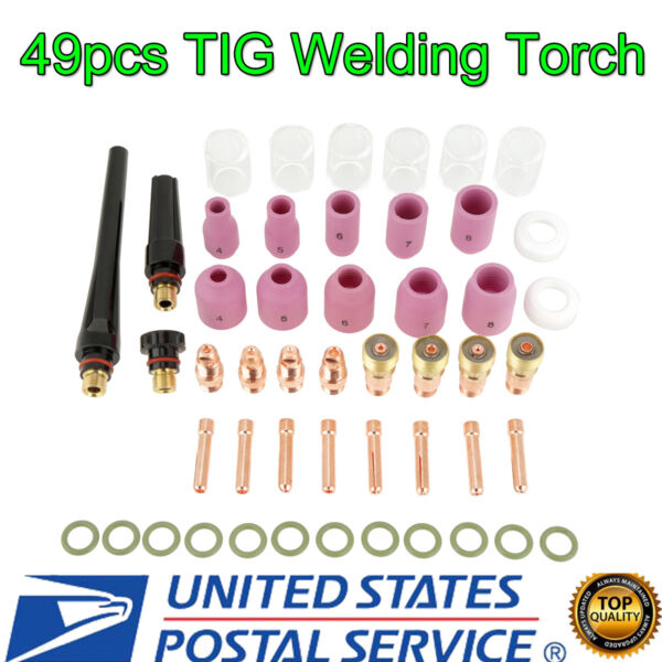 49pcs TIG Welding Torch Stubby Gas Lens #10 Pyrex Glass Cup Kit For WP-171826