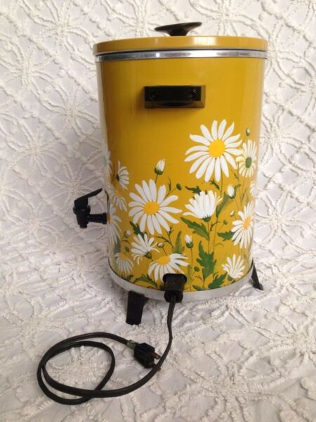 Vintage Coffee Percolator Sears Rare Fantastic Gold Daisies Works