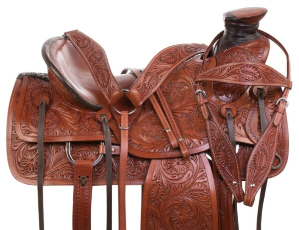 Western Roping Ranch Wade Tree Premium Leather Tooled Trail Saddle Tack 14 15