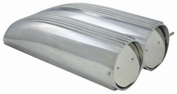 POLISHED Aluminum Finned Top Shotgun Intake Air Scoop Single & Dual Carb Rat Rod