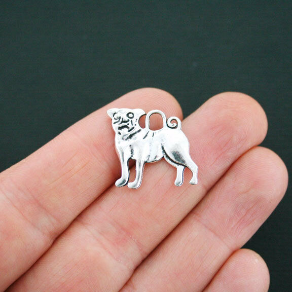 8 Dog Charms Antique Silver Tone 2 Sided Bulldog or Pug SC4705 $3.49