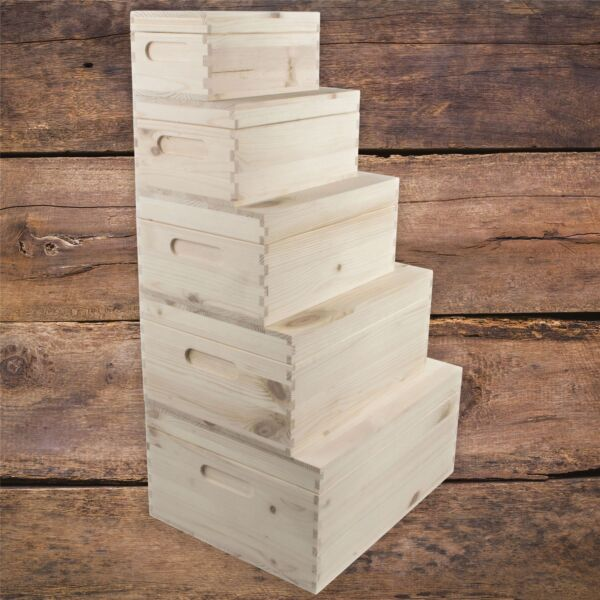 Wooden Boxes Choice of 5 Sizes Home Storage Keepsake Memory Solutions DIY GBP 16.95